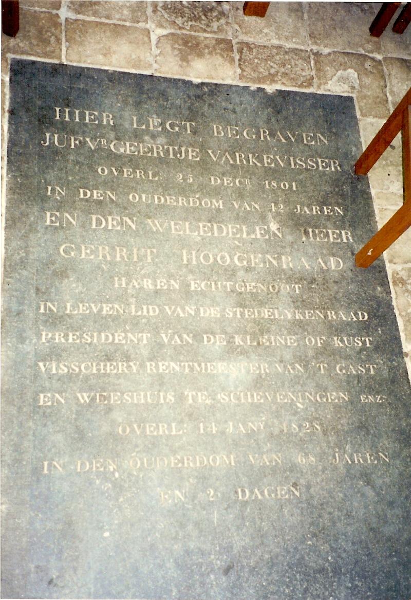 Grafsteen Gerrit Hoogenraad 1760-1828