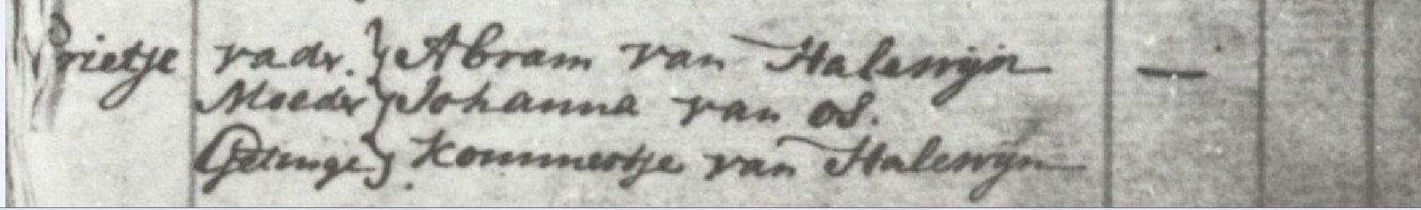 doopbericht Grietje v Halewijn 1757