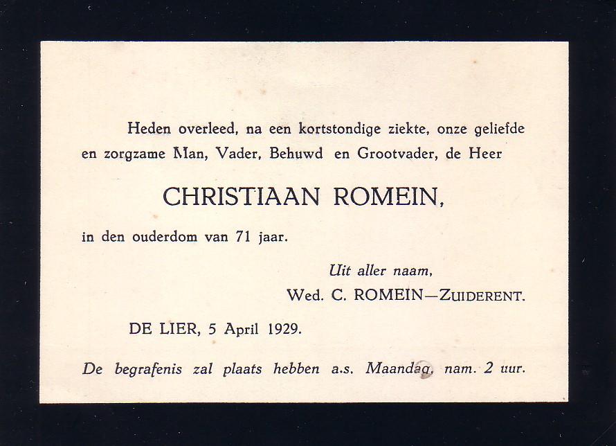 Overlijdensbericht Christiaan Romein (1857-1929)