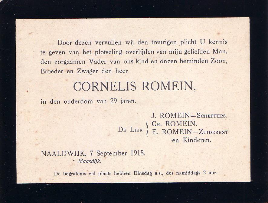 Overlijdensbericht Cornelis Romein (1888-1918)