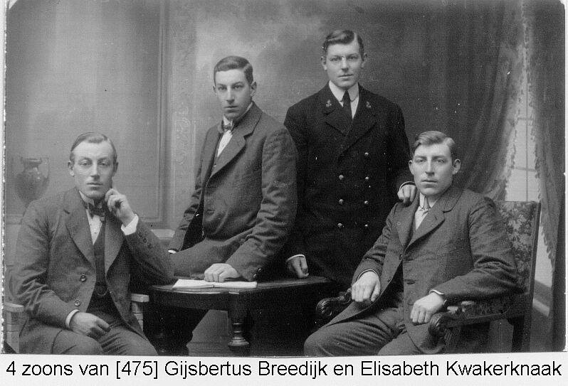 Zonen van Gijsbertus Breedijk en Elisabeth Kwakernaak